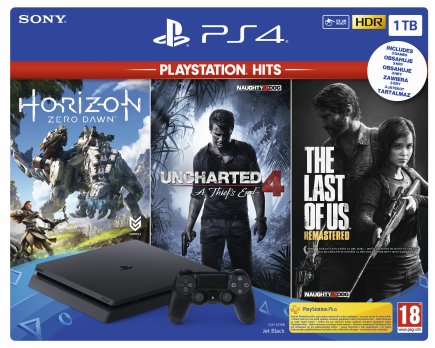 Konzole PlayStation 4 Slim 1TB + Uncharted 4, The Last of Us, Horizon: Zero Dawn (PS4)