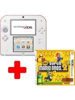 příslušenství pro Nintendo 3DS konzole Nintendo 2DS (bílo-červená) + New Super Mario Bros 2