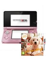 pr�slu�enstvo pre Nintendo 3DS Konzola Nintendo 3DS (ru�ov�) + Nintendogs & Cats - Golden Retriever & New Friends