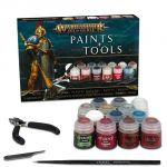 Stolní hra Barvící sada Citadel Age of Sigmar Paints + Tools (13 barev, štětec, pilník, kleště)