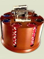 Stolová hra Poker set v revolverovom stojane