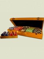 Stolová hra Poker set v luxusnom dubovom kufríku - 300 žetónov