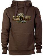 oblečení pro hráče Mikina Euro Truck Simulator - Hnědá s logem (velikost XL)