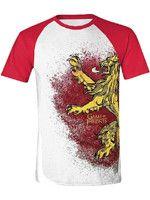 oblečení pro hráče Tričko Game of Thrones - Lannister Painted Raglan (velikost L)