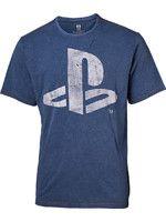 oblečení pro hráče Tričko PlayStation - Faux Denim Logo (velikost L)
