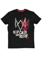 oblečení pro hráče Tričko Watch Dogs: Legion - Keep Calm and Resist (velikost M)