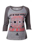 oblečení pro hráče Tričko dámské Playstation - Live In Your World Raglan (velikost L)