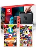 Konzole Nintendo Switch a příslušenství Konzole Nintendo Switch (modro-červená) + 1-2 Switch + Bomberman R