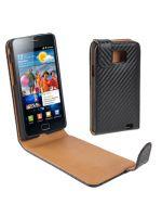 Herné príslušenstvo Kožené puzdro (carbon štýl) pre Samsung Galaxy S2 (i9100) (čierne)