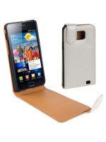Herné príslušenstvo Kožené puzdro (carbon štýl) pre Samsung Galaxy S2 (i9100) (biele)