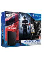 Príslušenstvo ku konzole Playstation 4 PlayStation 4 Slim - herná konzola (1TB) + Uncharted 4 + Driveclub + The Last of Us