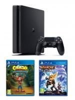 PlayStation 4 Slim - herní konzole (500GB) + Crash Bandicoot Trilogy + Ratchet & Clank