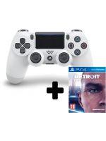 DualShock 4 ovladač - Biely V2 + Detroit: Become Human (PS4HW)