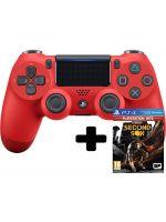 DualShock 4 ovladač - Červený V2 + inFamous: Second Son (PS4HW)
