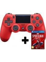 Príslušenstvo ku konzole Playstation 4 DualShock 4 ovladač - Červený V2 + Spider-Man