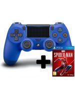 Príslušenstvo ku konzole Playstation 4 DualShock 4 ovládač - Modrý V2 + Spider-Man