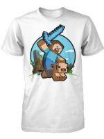 Herné tričko Tričko Minecraft Pig Riding (americká veľ. detské S)