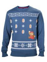 Herné tričko Mikina Mario Christmas (modrá) (veľ. XL)