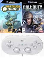 Príslušenstvo pre Nintendo Wii Wii klasický ovládač (biely) + 3 GameCube hry + SD Adapter