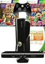 Prislušenstvo pre XBOX 360 XBOX 360 Slim - herná konzola (4GB) + ovládač Kinect + Kinect Adventures + Carnival Games: In Action + 3 mesiace XBOX Live GOLD