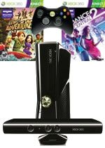 Prislušenstvo pre XBOX 360 XBOX 360 Slim - herná konzola (4GB) + ovládač Kinect + Kinect Adventures + Dance Central 2
